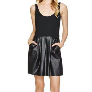 WILFRED Black Pompe Faux Leather Pocket Dress